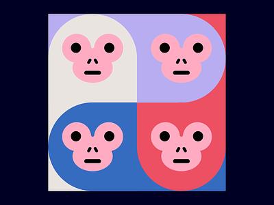 4 monkeys drawing illustration monkey