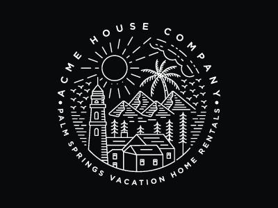 Acme House Company monoline merek adobe illustrator branding tipografi ilustrasi vektor identitas minimal logo