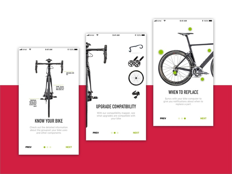 Onboarding for bicycle maintenance app by Vishal Patwa on Dribbble
