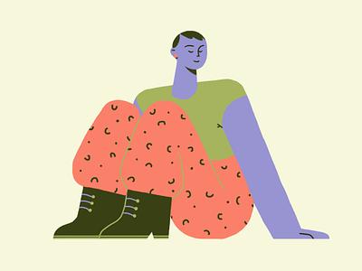 little sit down character color graphic illustration flat design colour 2d