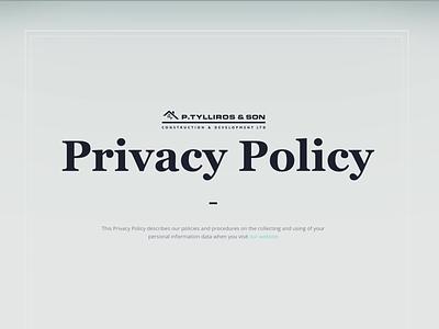 Privacy Policy webpage header landing page privacy policy tilda website builder madeontilda web design