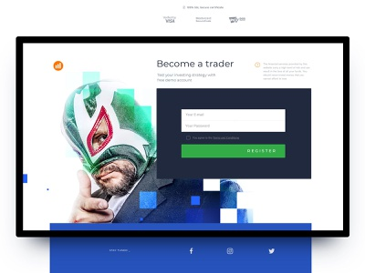 Registration screen tilda website builder madeontilda ui design trading options landing page desktop webdesign trading platform ui design web illustration