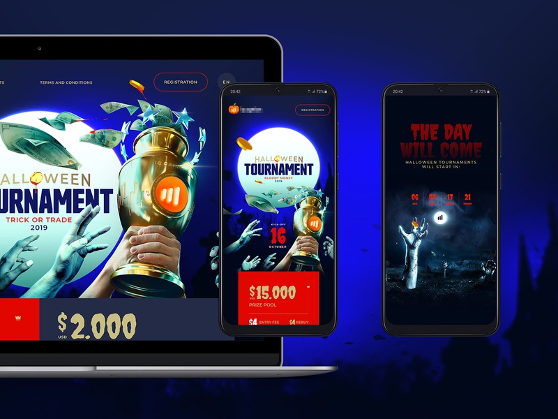 Trading Tournament Promo page, pt1 3d max 3d graphics illustration tilda website builder madeontilda 3dsmax webdesign trading trading platform options tournament spooky halloween promo page landing page
