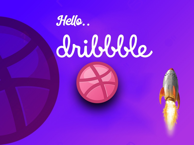 Hello, Dribble dribble invite typography illustration branding vector design logo