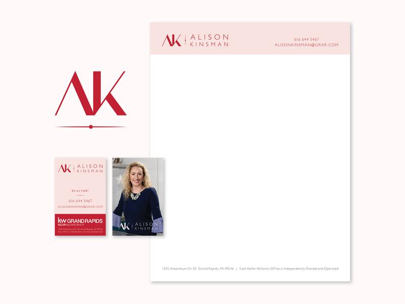 Alison Kinsman Brand letterhead business cards monogram logo branding