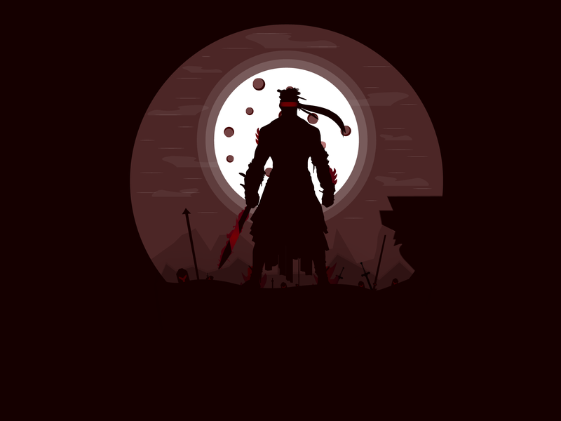 I'm the one who knows how to survive gladiator warrior fighter landscape night mode illustration