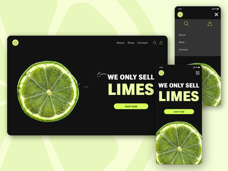 Daily UI 053: Header Navigation hamburger menu navigation shop shopping dark lime green lime website mobile design uidesign ui dailyuichallenge dailyui sketch