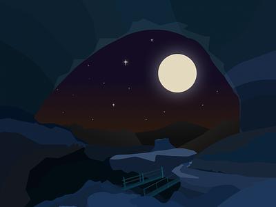 The Cave cave blue moon dark vector illustration design sketch