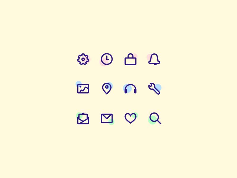 Daily UI 055: Icon Set whimsical dots purple yellow icon design icon set icon vector mobile website design uidesign ui dailyuichallenge dailyui sketch