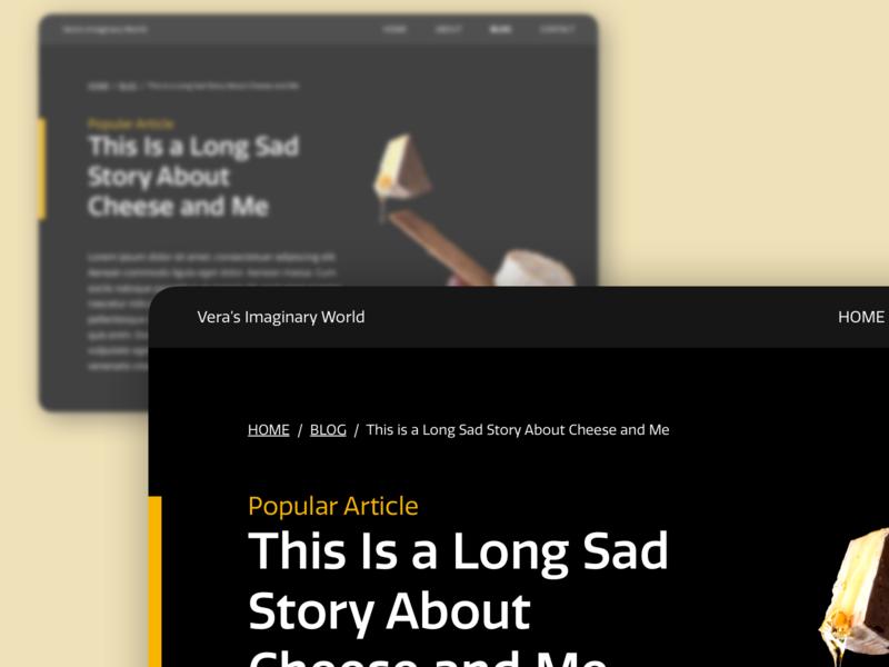 Daily UI 056: Breadcrumbs dark ui dark blog breadcrumbs cheese yellow website design uidesign ui dailyuichallenge dailyui sketch
