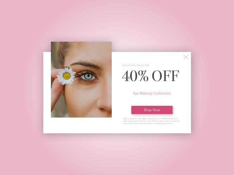 Daily UI 016: Pop-up/Overlay dailyui016 makeup eye pop-ups overlay sales page website design sketch ui uidesign dailyuichallenge dailyui