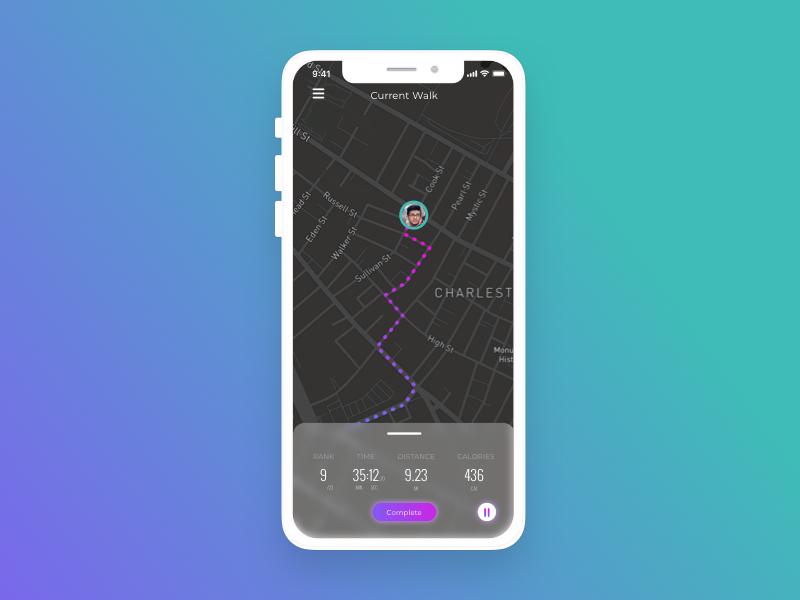 Daily UI 020: Location Tracker dailyui 020 020 dailyui020 walk tracker location tracker location mobile design sketch ui uidesign dailyuichallenge dailyui