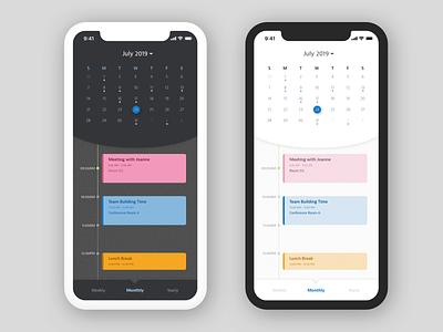Daily UI 038: Calendar dailyui038 038 dark ui mobileapp app schedule scheduler calendar mobile design ui uidesign sketch dailyuichallenge dailyui