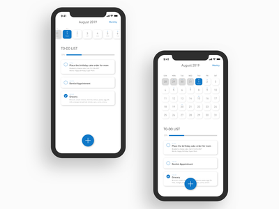 Daily UI 042: To-Do List monthly weekly todolist white blue calendar ui list dailyui042 to-do list app mobile design ui uidesign sketch dailyuichallenge dailyui