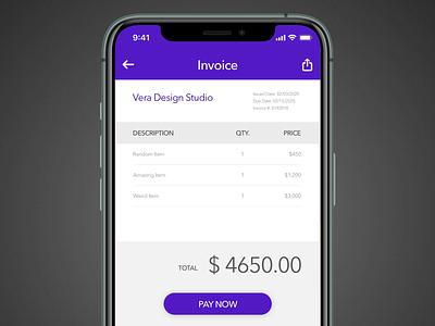 Daily UI 046: Invoice buttons lists payment invoice invoice design purple mobile design ui uidesign dailyuichallenge sketch dailyui