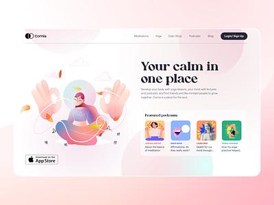 Comia — Web design for Meditation app landing page web design pink main screen meditation app meditation ui webdesign landing illustration startpage start