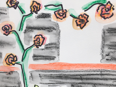 Roses watercolor handdrawn prismacolor caran dache illustration