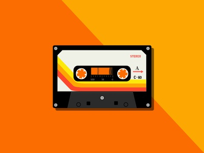 Classic Cassette Tape flat illustration tape vector cassette