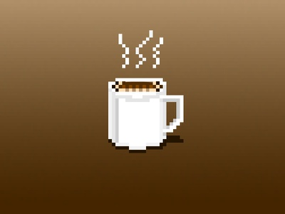 Pixel Coffee low res icon coffee pixel art