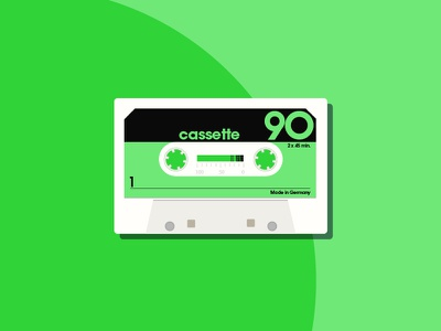 90 Cassette Tape audio old school mixtape retro music vector tape illustration flat cassette