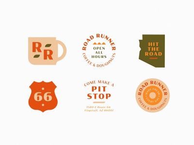 Road Runner Badges road runner doughnuts industrial route 66 southwest cafe food bright bird coffee americana illustration geometric branding