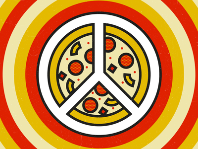 Peace, Love & Pizza pattern food illustrator flat thick lines icon art shapes graphic  design vector design illustration pizza love peace