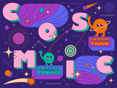 Cosmic Vibes vibes stars solar system planets cosmic space flat thick lines typography illustrator icon shapes illustration graphic  design vector design art