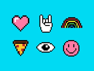 Pixel icon set icons set devil horns smiley eye pizza rainbow love heart web branding shapes iconography graphic  design illustration icons design vector