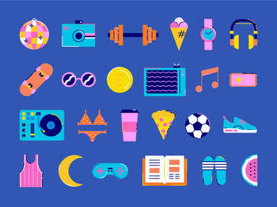 Summer Icons jobs entertainment hobbies chill fashion fitness sports party summer illustrator iconography web art icon shapes graphic  design illustration design vector