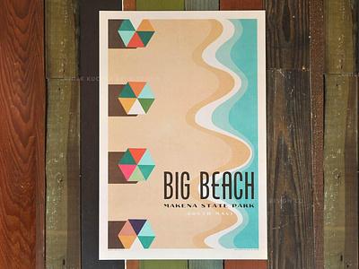 Big Beach aloha hawaii vintage illustration umbraco waves ocean umbrella makena maui beach
