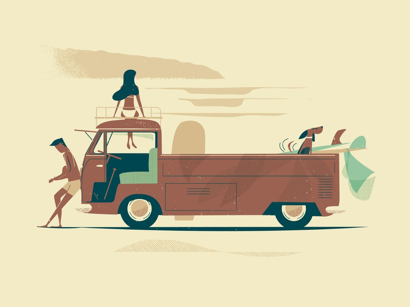 Single Cab for Cutie man woman dog surfboard single cab print surf art surf hawaii vintage illustration