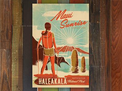 Maui Sunrise mountain sunrise haleakala national park maui hawaii print travel retro vintage illustration