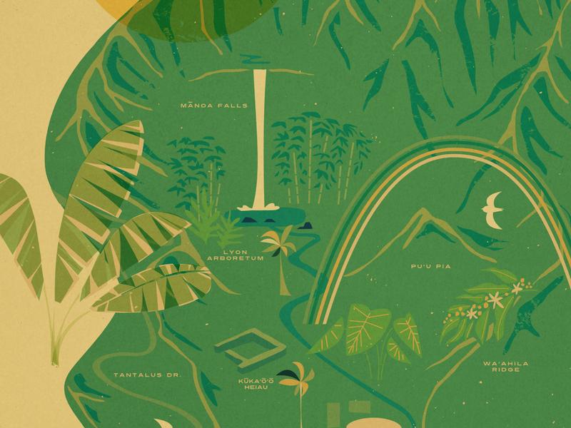 Mānoa Valley leaves oahu aloha mountains waterfall rainbow map travel hawaii vintage illustration