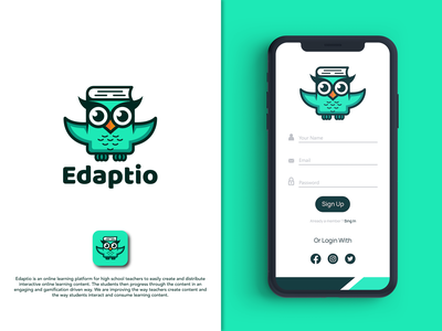Edaptio book creativity simple school logo school students education owl wisdom animal logos creative branding vector logodesigns logodesigner designer art