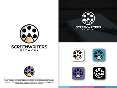 Screen Writers Network logodesign branding designer tv show film network screenwriters movies pen writing writers icon symbol simplicity creative illustration logo art