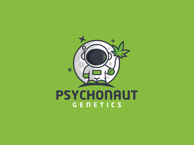Psychonaut Genetics logodesign idea green playful logo fun design genetics space astronaut cannabis logos creative illustration art branding designer