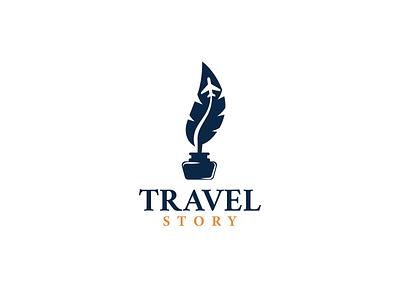 Travel Story business agence travelling combination logo ideas designer brand design simple history travel writing quill plane negativespace vector creative logodesigner art