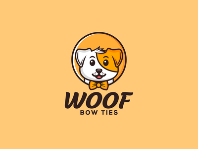 Woof Bow Ties dog logo design simple brand design company logo business icon pets animal accessories ties dog art vector creative logo branding logodesigner designer