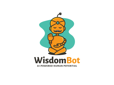 Wisdom bot combination logo fun design playful logo relaxing services human potential robot bot business service wisdom logos vector illustration creative branding logodesigner designer art