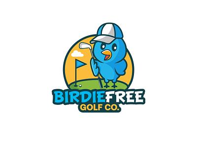 birdie free golf co. business bird logo fun creative logo youthful playful logo sport golf birdie bird animal logos vector art designer logodesigner branding illustration