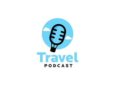 Travel Podcast podcast logo travel logo travelling microphone interviews business airballoon podcast travel logodesigns brandidentity logos logodesigner illustration creative vector branding designer art