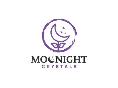 Moonight Crystals nature moon logo business luxury sophisticated logo icons simple logo feminine design jewelry cristal night moon illustration logos vector creative branding logodesigner designer art