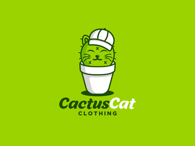 Cactus cat clothing design cat art fun design playful logo combination logo clothing cat lovers animal cat logo cactus illustration cactus illustration logos vector creative branding logodesigner designer art
