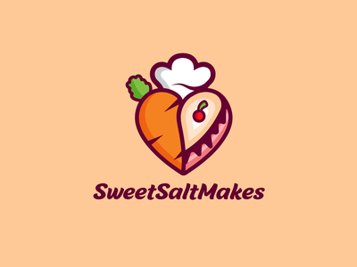 Sweet Salt Makes food logo fun design youthful chef hat salt sweets cake logo food combination logo brand identity logodesign illustration logo vector creative logodesigner art designer branding