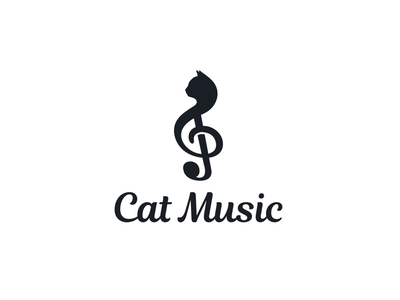 Cat Music music logo cat logo notes music art music cat lovers cat designs logodesigns brandidentity logo illustration logos vector creative branding logodesigner designer art