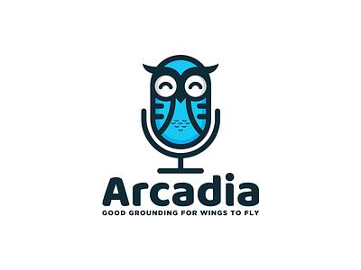 Arcadia combination logo kids design music logo microphone owl logo fun design playful logo logodesign logodesigns brandidentity illustration logo logos vector branding creative logodesigner designer art