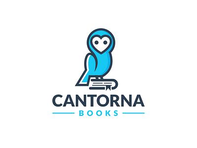 Cantorna Books fun design combination mark authors book logo animal logo friendly animal wisdom owl logodesigns brandidentity illustration logo logos vector branding creative logodesigner designer art