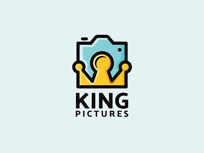 KING PICTURES combination mark fun logo playful design pictures king crown logo photography logo camera logo logodesigns brandidentity illustration logo logos vector branding creative logodesigner designer art
