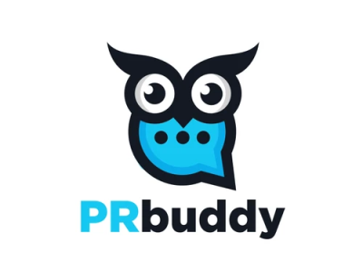 PRBuddy logodesign startup logo services combination logo chat logo communication owl logo wisdom logodesigns brandidentity illustration logo logos vector branding creative logodesigner designer art