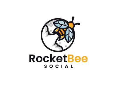 Rocket Bee Social bee illustration moon logo combination logo playful design spaceship space design bee logo rocket logo logodesigns brandidentity illustration logo logos vector branding creative logodesigner designer art